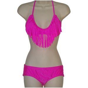 Raisins pink fringe bikini set